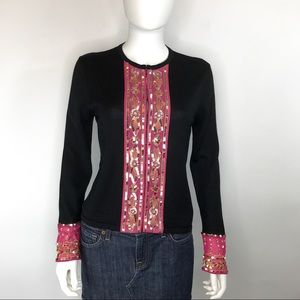 Boden Silk & Wool Black & Pink Sequined Cardigan